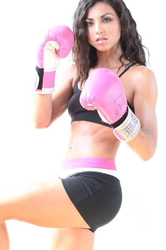 woman boxer in pink