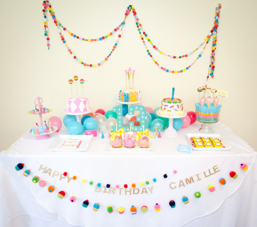 teen birthday party table